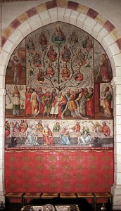 Beispiel für eine historische Genealogie Bild: Ahnenreihe Jesu im Limburger Dom. Quelle: https://commons.wikimedia.org/wiki/File:Ahnenreihe_Jesu_im_Limburger_Dom.jpg Autor: SteveK https://commons.wikimedia.org/wiki/User:SteveK